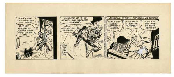 Una striscia di Spider-Man per i quotidiani con testi di Stan Lee e disegni di John Romita Sr