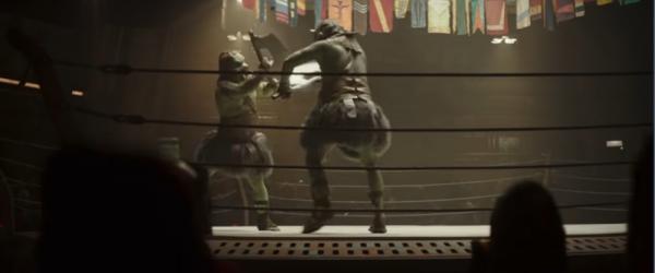 Due Gamorreani si affrontano sul ring in una schermata dal trailer di The Mandalorian stagione 2.