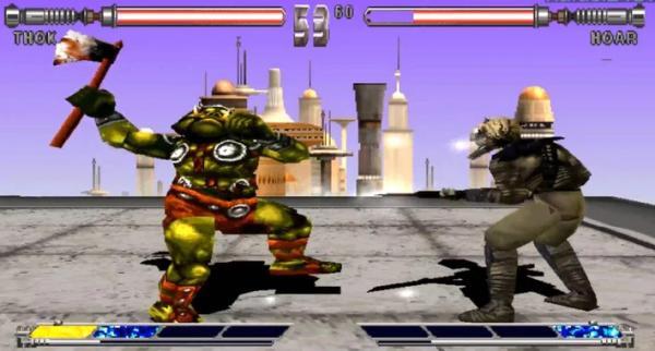 Una schermata tratta dal videogioco per PlayStation Star Wars: <i>Masters of</i> <i>Teräs Käsi</i>