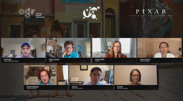 Ramin Zahed, Enrico Casarosa, Andrea Warren, Daniela Strijleva, Deanna Marsigliese, David Ryu e Kim White parlano di Luca a View Conference 2021.