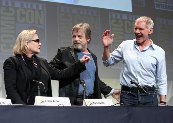 Carrie Fisher, Mark Hamill ed Harrison Ford