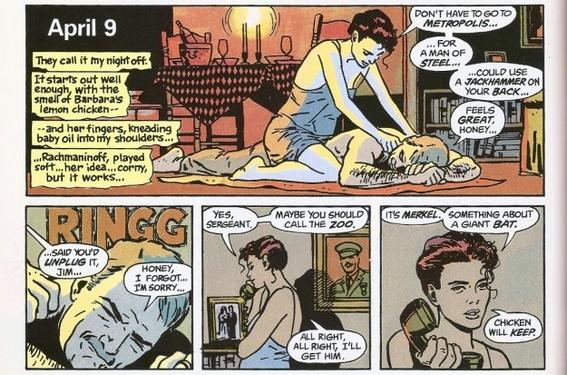James e Barbara Eileen Gordon in una tavola di Batman: Year One di Frank Miller (testi) e David Mazzucchelli (disegni) del 1987