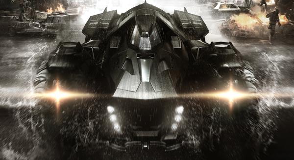 L'artwork ufficiale del videogame che mostra la Batmobile