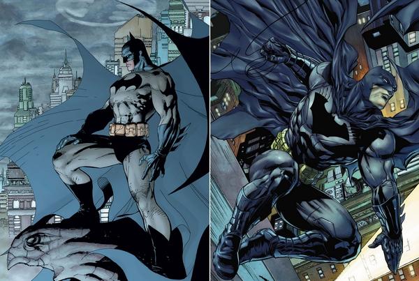 Da sinistra a destra: il Batman di Jim Lee (2002-2003) e quello di Tony S. Daniel (2011)