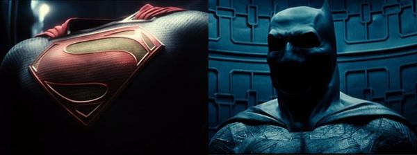 Il costume di Superman (a sinistra) e il Batsuit (a destra) in due fotogrammi del teaser trailer