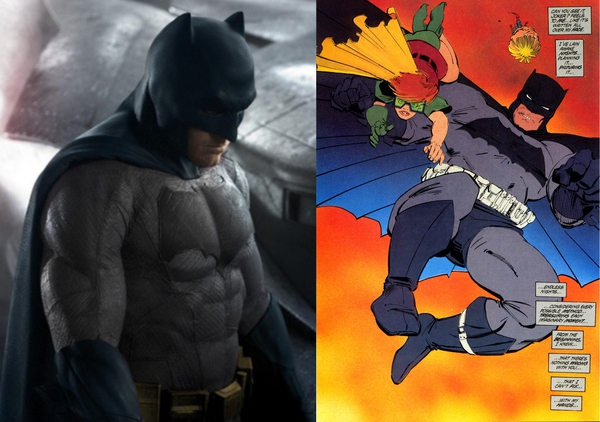 A confronto, una versione non ufficiale a colori del nuovo Batsuit (a sinistra) e una tavola de Il Ritorno del Cavaliere Oscuro di Frank Miller del 1986 (a destra)