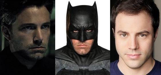 Da sinistra a destra: Ben Affleck nella parte di Bruce Wayne e in quella di Batman, Geoff Johns