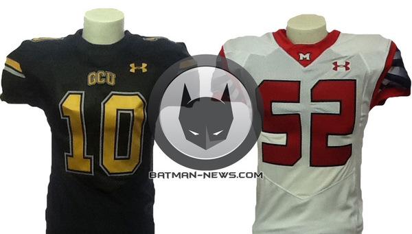 Le maglie indossate dai giocatori delle due squadre, quella della Gotham City University, a sinistra, e quella della Metropolis State University, a destra (immagine esclusiva del sito Batman-News)