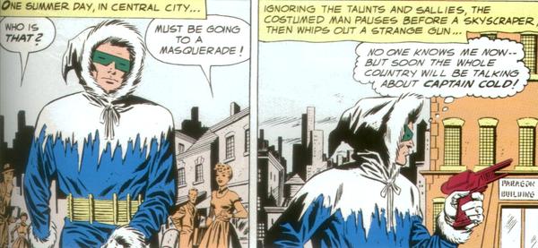 La prima apparizione di Captain Cold in una vignetta tratta da Showcase #8 del giugno 1957 (storia e testi di John Broome, disegni di Carmine Infantino)