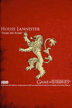 Lo stemma di Casa Lannister con un leone dorato in campo porpora