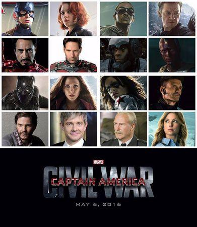 Il cast completo di Captain America: Civil War
