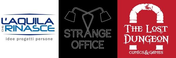Da sinistra a destra, il logo dell'associazione L'Aquila Che Rinasce, quello del coworking Strange Office e quello della ludoteca The Lost Dungeon