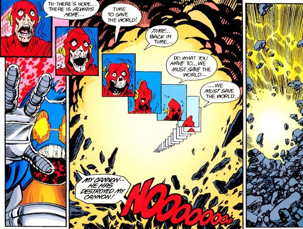 La morte di Flash (Barry Allen) in una tavola di Crisis on Infinite Earths di Marv Wolfman e George Pérez (1985-1986)