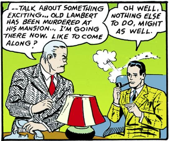 La prima apparizione del commissario James Gordon, qui insieme a Bruce Wayne, in Detective Comics #27, maggio 1939 (storia e testi di Bill Finger, disegni di Bob Kane)