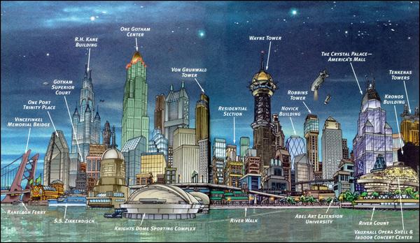 La skyline di Gotham City illustrata da Eliot R. Brown