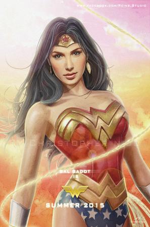 Gal Gadot come Wonder Woman in un'illustrazione di Christopher Nico, Reins Illustration Studio