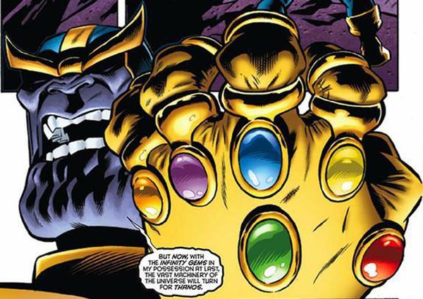 Thanos brandisce il Guanto dell'Infinity
