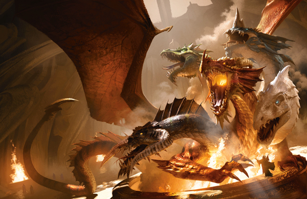 Illustrazione di copertina della prima avventura rilasciata - The rise of Tiamat