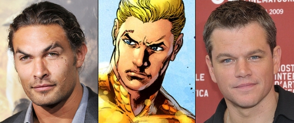 Aquaman tra i due attori indicati dalle ultime indiscrezioni come suoi probabili interpreti: Jason Momoa (a sinistra) e Matt Damon (a destra)