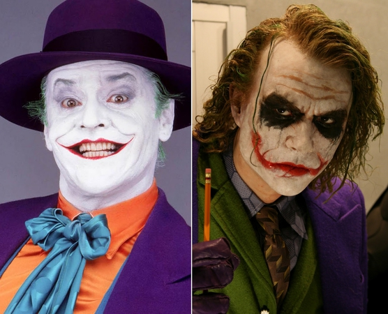 Il Joker interpretato al cinema da Jack Nicholson (in Batman del 1989, a sinistra) e da Heath Ledger (ne Il Cavaliere Oscuro del 2008, a destra)