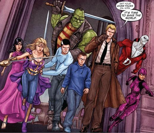 Una delle formazioni della Justice League Dark, da sinistra a destra: Madame Xanadu, Amethyst, Andrew Bennett, Frankenstein, Timothy Hunter, John Constantine, Deadman e Black Orchid (tavola di Mikel Janin)