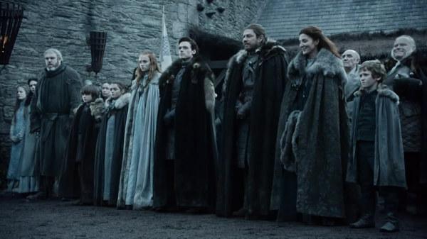 La famiglia Stark nel primo episodio della prima stagione di Il trono di spade