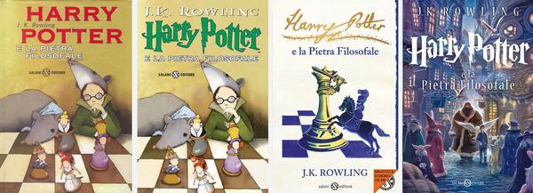 Le quattro edizioni del primo libro della saga di Harry Potter