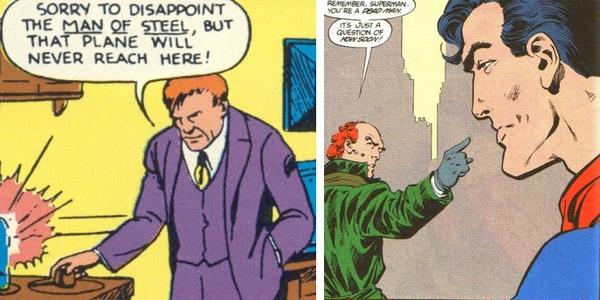 A sinistra, Lex Luthor in Superman #4 (1940) illustrato da Paul Cassidy; a destra, lo stesso personaggio in Man of Steel #4 (1986) disegnato da John Byrne