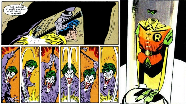 A sinistra, la sequenza dell'assassinio di Robin (Jason Todd) per mano del Joker da Una Morte in Famiglia; a destra, la teca con il costume del personaggio conservata nella Batcaverna ne Il Ritorno del Cavaliere Oscuro