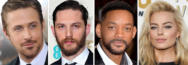 La Suicide Squad? Da sinistra a destra: Ryan Gosling, Tom Hardy, Will Smith e Margot Robbie