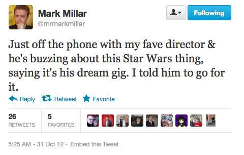 Il tweet di Mark Millar
