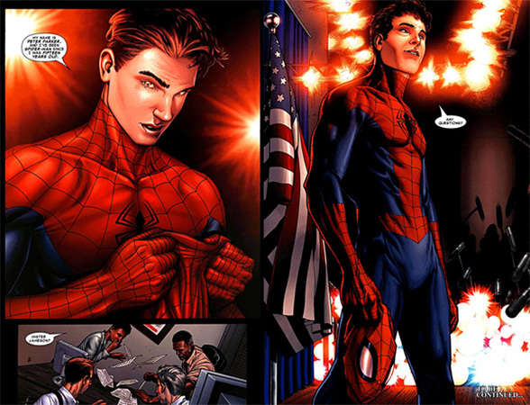 Peter Parker si rivela in Civil War - Disegni di Steve McNiven