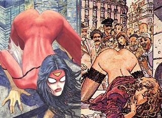 La cover di Spider-Woman di Milo Manara a confronto con una illustrazione tratta da Il Gioco