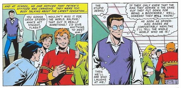 Peter Parker al liceo. Disegni di Steve Ditko