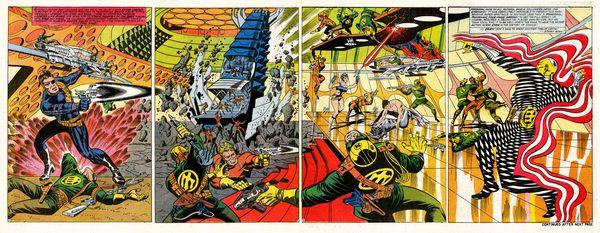 Una quadrupla splash page del Nick Fury di Jim Steranko