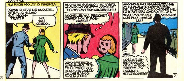 L'incontro tra Steve Rogers e Sharon Carter, da ToS 75 del 1966. Disegno di Jack Kirby