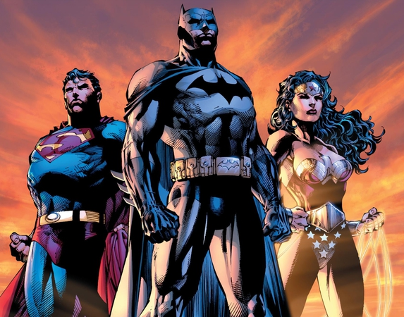 Superman, Batman e Wonder Woman (la Trinità) illustrati da Jim Lee