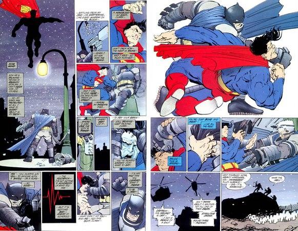 Da Il Ritorno del Cavaliere Oscuro di Frank Miller (1986) le prime due tavole dello scontro tra Batman e Superman