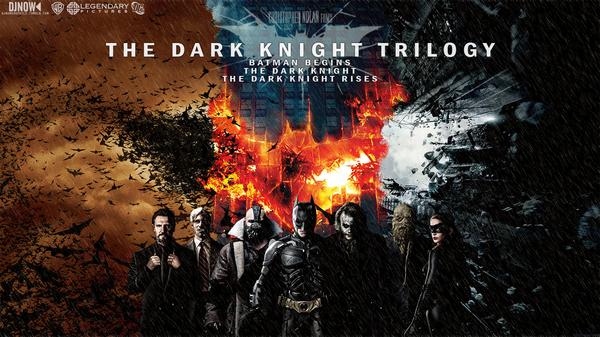 Un'immagine promozionale della Trilogia del Cavaliere Oscuro di Christopher Nolan