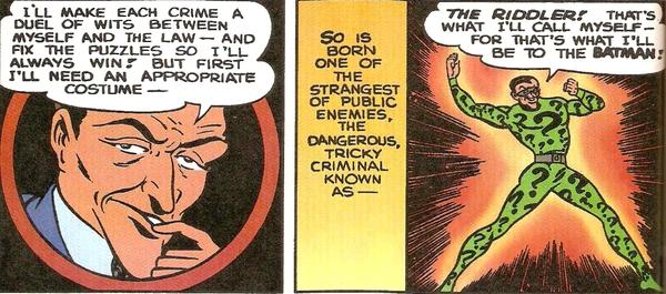 La prima apparizione de L'Enigmista in Detective Comics #140 dell'ottobre 1948 (storia e testi di Bill Finger, disegni di Dick Sprang)
