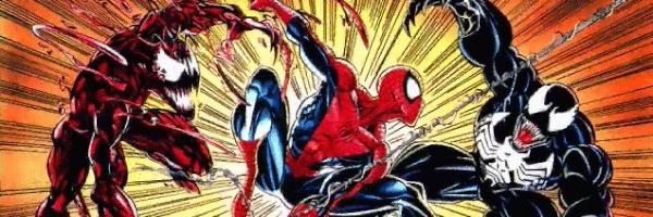 Spider-Man in mezzo a Carnage e Venom