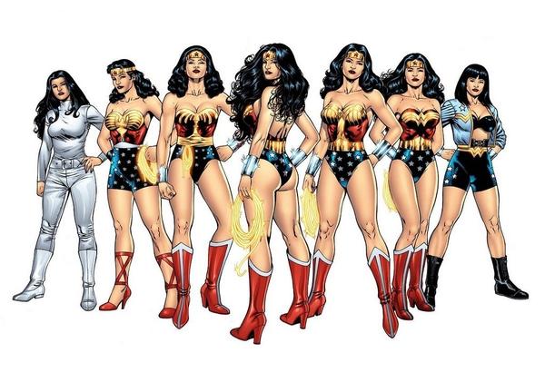 Alcuni tra i più significativi cambiamenti del costume di Wonder Woman negli anni (illustrazione di Al Rio)