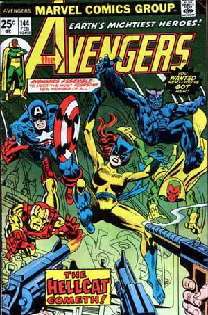 Patsy WalkerdiventaHellcat in<i>The Avengers</i>#144 (Feb. 1976). Disegno di Gil Ka
