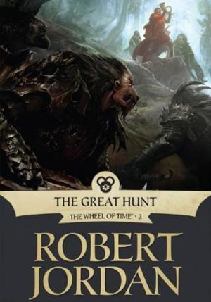 La copertina dell'edizione americana dell'ebook di The Great Hunt (La grande caccia) di Robert Jordan. In primo piano uno dei molti tipi di Trolloc, creato in questo caso dalla manipolazione genetica di esseri umani e lupi.