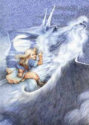Il drago di ghiaccio di George R.R. Martin in un'illustrazione di Yvonne Gilbert.