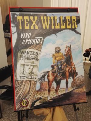 La copertina della nuova serie Tex Willer presentata in anteprima alla mostra Tex. 70 anni di un mito.