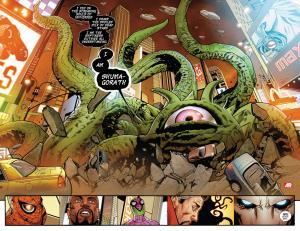 Un mostro tentacolare ispirato da Lovecraft devasta New York in una pagina tratta dai Nuovi Vendicatori.