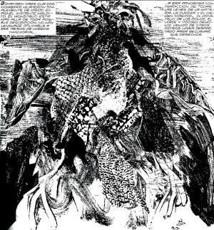 Una creatura lovecraftiana rappresentata da Alberto Breccia nell'adattamento a fumetti dei Miti di Cthulhu.