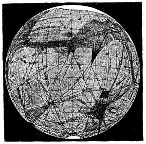 Illustrazione di Marte e dei suoi canali di Percival Lowell. (Fonte: Wikimedia.org)