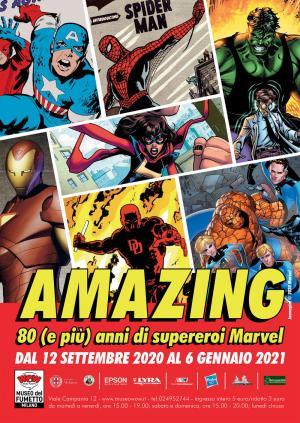 Il manifesto della mostraAMAZING! 80 anni (e più) di supereroi Marvel